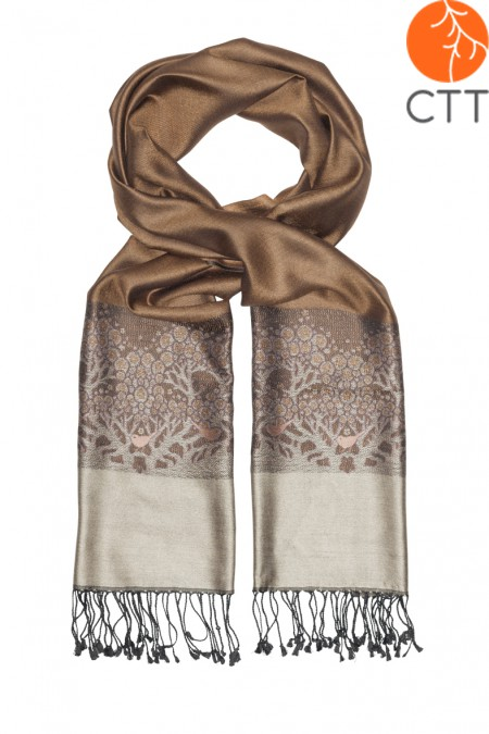 Silk scarf Deluxe TERRA , 100% natural silk from India