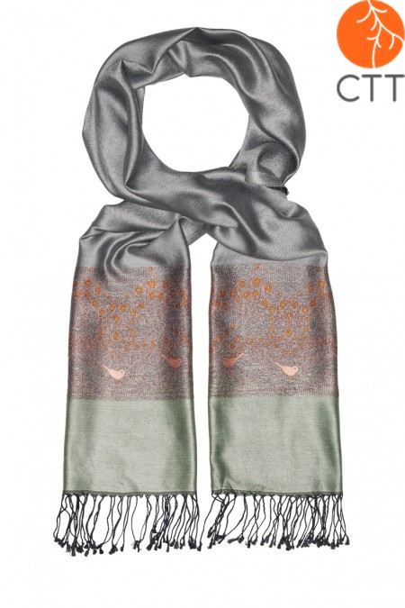 Silk scarf Deluxe MORNING FRUITS, 100% natural silk from India