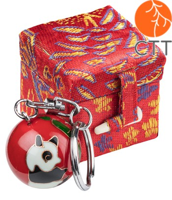 key ring chain ball PANDA red design in brocade box