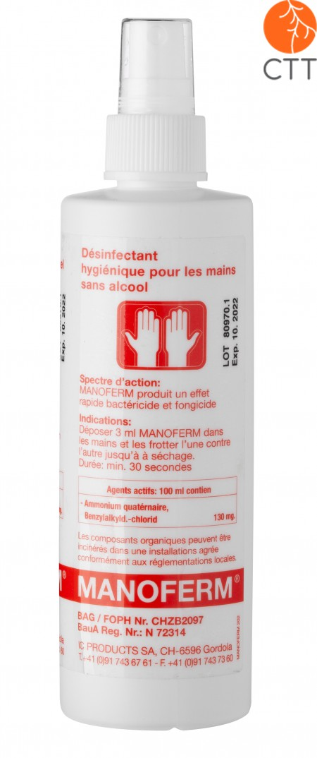 Hand and skin disinfectant Manoferm, without alcohol, 250ml pump spray bottle - without alcohol or other toxic substances