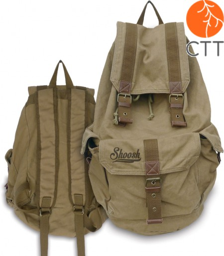 Shoosh® Canvas Backpack Rucksack, 100% Canvas soft, colour khaki, Eco friendly,