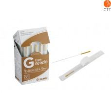Seirin needle, G-Type, 100 needles per box, with guide - ideal for sport medicine and dry needling