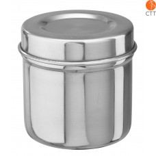 Stainless steel jar for cotton balls, with lid 8.5 x 8.5cm