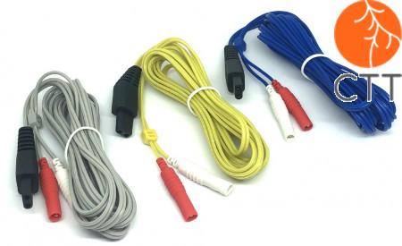Ersatzkabel Set für das Hwato Elektroakupunkturgerät SDZ II bestehnd aus je1 Kabel gelb, blau und grau