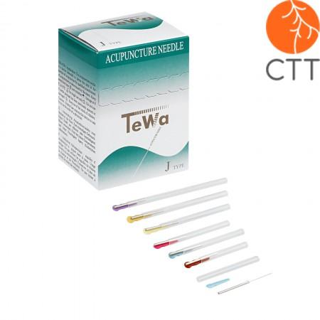 Akupunkturnadeln TeWa JJ-Type, Metallgriff jap. Style mit Führung Einzeln verpackt, beschichtet, 100 Stk./Box