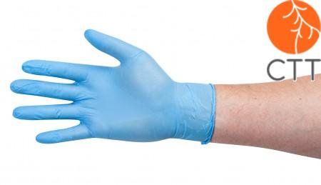 Einweg-Nitril-Untersuchungshandschuhe, blau, unsteril, puderfrei, Box à 100 Stück, in 4 Groessen