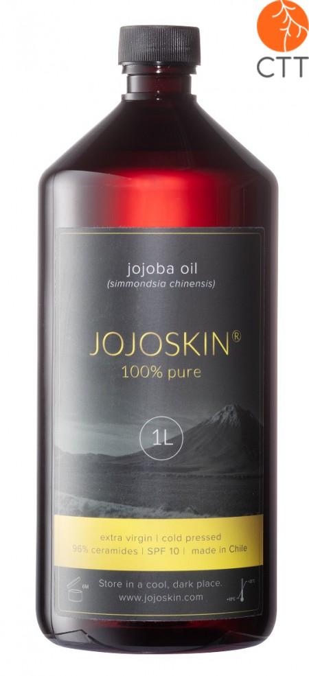 JojoSkin 100 Prozent reines und natuerliches Jojoba Oel in Plastikflasche mit Druckpumpe, ideal fuer die Massagepraxis 1000 ml