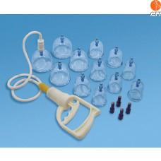 Magnetisches Schröpfgläser-Set mit Pumpe, 12 Kunststoffgläser