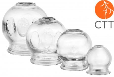 Set de Ventouses en verre, 4 piéces,  diam. 3.5cm, 4.5cm, 5.5cm, 6.5cm