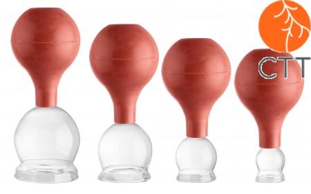 Set de Ventouses en verre avec ballon, 4 piéces Ø 2.5, 3.5, 4.5, 5.5cm