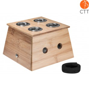 Boîte de Moxa en bois avec 4 trous