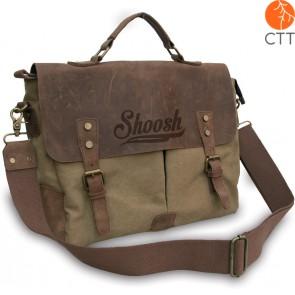 Shoosh® 100% canvas.-cuire, sac pour laptop, khaki, soft, eco-friendly, grandeur