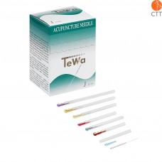 Aiguilles d'acupuncture de type TeWa JJ, manche en métal, style Japon, avec guide, 100 aiguilles par boîte