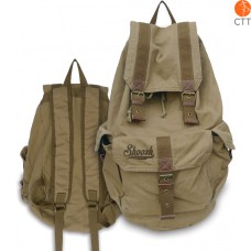 Shoosh Canvas Backpack Rucksack, 100% Canvas soft, couleur khaki, Eco friendly,