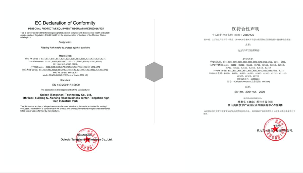 Declaration of conformity FFP2 KN95